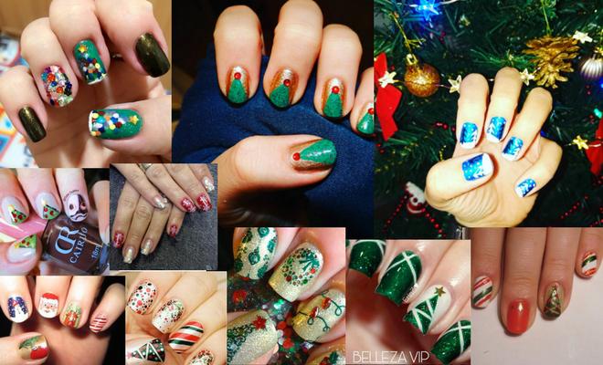 diseño uñas navidad árbol de navidad