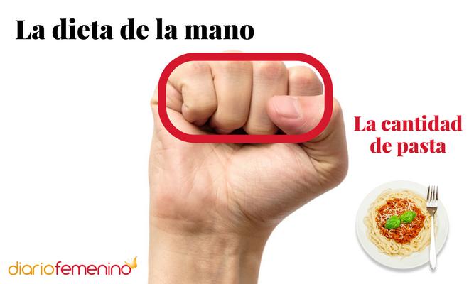 La dieta de la mano: cantidad de pasta