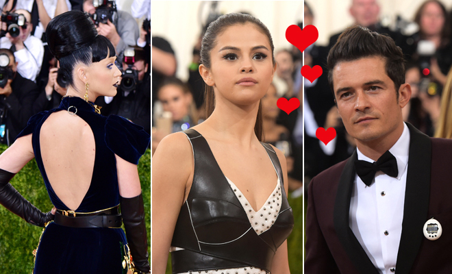 Selena Gomez, entre Katy Perry y Orlando Bloom