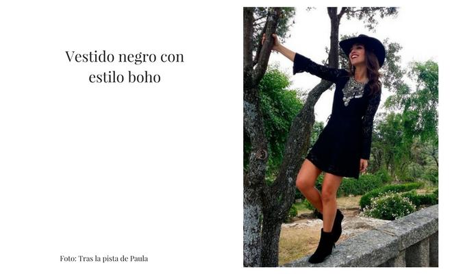 vestido negro estilo boho